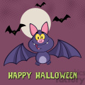 8946 Royalty Free RF Clipart Illustration Happy Vampire Bat Cartoon Character Flying Vector Illustration Greeting Card vector clip art image
