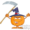 Royalty Free RF Clipart Illustration Scaring Halloween Pumpkin With A Witch Hat And Scythe Cartoon Mascot Character vector clip art image