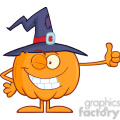8891 Royalty Free RF Clipart Illustration Winking Witch Pumpkin Cartoon Character Holding A Thumb Up Vector Illustration Isolated On White vector clip art image