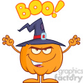 Royalty Free RF Clipart Illustration Scaring Halloween Pumpkin With A Witch Hat And Text vector clip art image