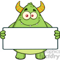 8934 Royalty Free RF Clipart Illustration Smiling Horned Green Monster Cartoon Character Holding A Blank Sign Vector Illustration Isolated On White
