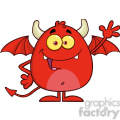 8958 Royalty Free RF Clipart Illustration Happy Red Devil Cartoon Character Waving Vector Illustration Isolated On White vector clip art image