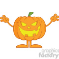 Scaring Halloween Pumpkin Cartoon Mascot Character vector clip art image