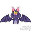8943 Royalty Free RF Clipart Illustration Happy Vampire Bat Cartoon Character Flying Vector Illustration Isolated On White vector clip art image