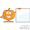 Royalty Free RF Clipart Illustration Smiling Halloween Pumpkin Mascot Character Showing A Blank Sign vector clip art image