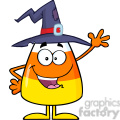 8885 Royalty Free RF Clipart Illustration Happy Candy Corn Cartoon Character With A Witch Hat Waving Vector Illustration Isolated On White vector clip art image