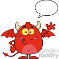 8959 Royalty Free RF Clipart Illustration Smiling Red Devil Cartoon Character Waving With Speech Bubble Vector Illustration Isolated On White vector clip art image