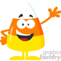 8869 Royalty Free RF Clipart Illustration Funny Candy Corn Flat Design Waving Vector Illustration Isolated On White