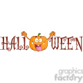 Royalty Free RF Clipart Illustration Halloween Text With Scaring Pumpkin Cartoon Character