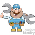 8544 Royalty Free RF Clipart Illustration Mechanic Cartoon Character Holding Huge Wrench And Giving A Thumb Up Vector Illustration Isolated On White