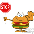 8575 Royalty Free RF Clipart Illustration Hamburger Cartoon Character Holding A Stop Sign Vector Illustration Isolated On White