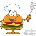 8570 Royalty Free RF Clipart Illustration Chef Hamburger Cartoon Character Holding A Slotted Spatula Vector Illustration Isolated On White