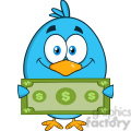 8836 Royalty Free RF Clipart Illustration Smiling Blue Bird Cartoon Character Showing A Dollar Bill Vector Illustration Isolated On White