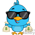 8846 Royalty Free RF Clipart Illustration Cute Blue Bird With Sunglasses Cartoon Character Holding A Bags Of Money Vector Illustration Isolated On White