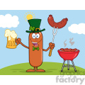 8455 Royalty Free RF Clipart Illustration Smiling Leprechaun Sausage Cartoon Character Holding A Beer And Weenie Next To BBQ Vector Illustration Isolated On White