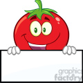 8390 royalty free rf clipart illustration smiling tomato cartoon mascot character over a blank sign vector illustration isolated on white