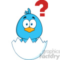 8808 Royalty Free RF Clipart Illustration Cute Blue Bird Cartoon Character Hatching From An Egg With Question Mark Vector Illustration Isolated On White