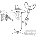 8449 Royalty Free RF Clipart Illustration Black And White Happy Mexican Sausage Cartoon Character Holding A Beer And Weenie On A Fork Vector Illustration Isolated On White