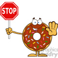8688 Royalty Free RF Clipart Illustration Smiling Chocolate Donut Cartoon Character With Sprinkles Holding A Stop Sign Vector Illustration Isolated On White
