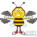 8375 Royalty Free RF Clipart Illustration Smiling Bee Cartoon Mascot Character Training With Dumbbells Vector Illustration Isolated On White