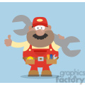 8551 Royalty Free RF Clipart Illustration African American Mechanic Cartoon Character Holding Huge Wrench And Giving A Thumb Up Flat Syle Vector Illustration