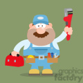 8540 Royalty Free RF Clipart Illustration Mechanic Cartoon Character With Wrench And Tool Box Flat Style Vector Illustration With Background
