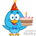 8847 Royalty Free RF Clipart Illustration Happy Blue Bird Cartoon Character Holding Up A Birthday Cake Vector Illustration Isolated On White