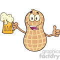 8738 Royalty Free RF Clipart Illustration Happy Peanut Cartoon Mascot Character Holding A Beer And Thumb Up Vector Illustration Isolated On White