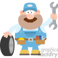 8557 Royalty Free RF Clipart Illustration Smiling Mechanic Cartoon Character With Tire And Huge Wrench Flat Syle Vector Illustration Isolated On White
