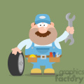 8558 royalty free rf clipart illustration smiling mechanic cartoon character with tire and huge wrench flat style vector illustration with background gif, png, jpg, eps, svg, pdf