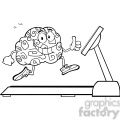 8805 Royalty Free RF Clipart Illustration Back And White Healthy Brain Cartoon Character Running On A Treadmill And Giving A Thumb Up Vector Illustration Isolated On White