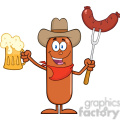 8442 Royalty Free RF Clipart Illustration Cowboy Sausage Cartoon Character Holding A Beer And Weenie On A Fork Vector Illustration Isolated On White