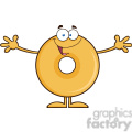 8657 Royalty Free RF Clipart Illustration Funny Donut Cartoon Character Wanting A Hug Vector Illustration Isolated On White