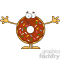 8697 Royalty Free RF Clipart Illustration Chocolate Donut Cartoon Character With Sprinkles Wanting A Hug Vector Illustration Isolated On White