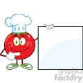 8392 Royalty Free RF Clipart Illustration Smiling Tomato Chef Cartoon Mascot Character Pointing To A Blank Sign Vector Illustration Isolated On White