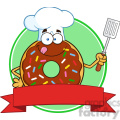 8691 Royalty Free RF Clipart Illustration Chocolate Chef Donut Cartoon Character With Sprinkles Circle Label Vector Illustration Isolated On White