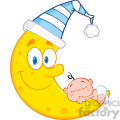 Royalty Free RF Clipart Illustration Cute Baby Boy Sleeps On The Smiling Moon With Sleeping Hat