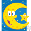 6971 Royalty Free RF Clipart Illustration Smiling Crescent Moon And Happy Litlle Star Cartoon Characters
