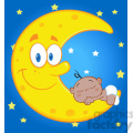 6992 royalty free rf clipart illustration cute baby boy sleeps on the smiling moon over blue sky with stars gif, png, jpg, eps, svg, pdf