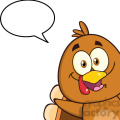 8977 Royalty Free RF Clipart Illustration Smiling Turkey Bird Cartoon Character Looking From A Corner With Speech Bubble Vector Illustration Isolated On White