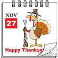 royalty free rf clipart illustration cartoon calendar page turkey with pilgrim hat and musket and happy thanksgiving greeting gif, png, jpg
