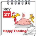 royalty free rf clipart illustration cartoon calendar page with smiling turkey bird in the pan giving a thumb up and happy thanksgiving greeting gif, png, jpg