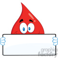 royalty free rf clipart illustration smiling red blood drop cartoon mascot character holding a banner gif, png, jpg, eps, svg, pdf