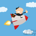 8339 Royalty Free RF Clipart Illustration Manager Flying In The Sky And Giving Thumb Up Flat Style Vector Illustration