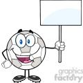 royalty free rf clipart illustration happy soccer ball cartoon character holding a blank sign  gif, png, jpg, eps, svg, pdf