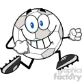 Royalty Free RF Clipart Illustration Smiling Soccer Ball Cartoon Character Running