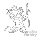 frank the cartoon firefighter holding an axe and hose black white