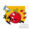 tom the cartoon tomato character running from tomatoes