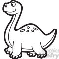 brachiosaurus dinosaur cartoon in black and white