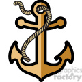 golden anchor with rope design tattoo illustration